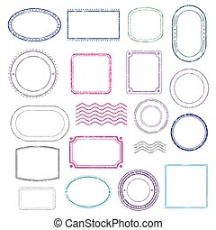 Stamps frames vector set. Stamp grunge ink rubber labels