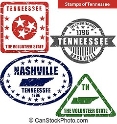 Vector stamps of Tennessee state in United States with map and nickname - The Volunteer State