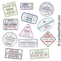 Stamps of USA, passport travel visa US airport