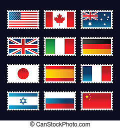 Stamps representing world flags. - Vector set of stamps...
