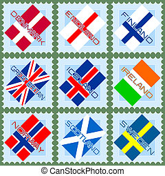 Stamps with flags