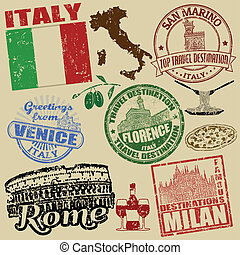 Stamps with Italy - Set of grunge stamps with Italy on retro...