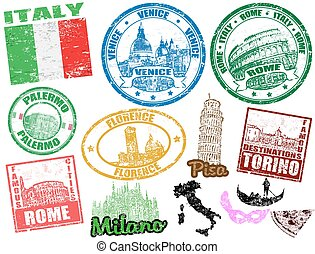 Stamps with Italy - Set of grunge stamps with Italy, vector ...