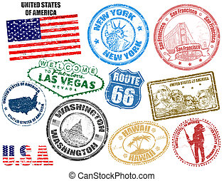 Stamps with United States of America