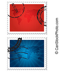 Stamps with world map designs