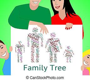 stamträd, indikerar, ärftlig, anor, och, text