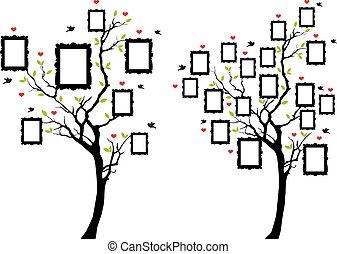 stamträd, med, fotografi inramar, vektor