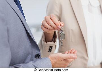 stan, dom, przedstawiciel, udzielanie, prawdziwy, klucz