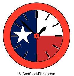 stan, texas, zegar