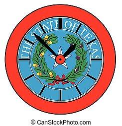 stan, znak, texas, zegar