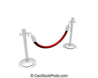 Stanchion Barrier - A 3D illustration of a barrier made of...