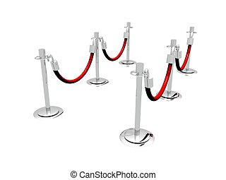 Stanchion Barrier - A 3D illustration of a waiting line...