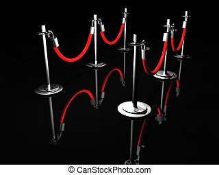 Stanchion Barrier - A 3D illustration of stanchion barriers...