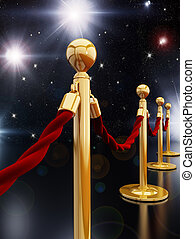 Stanchion posts - Gold stanchion posts and red velvet ropes...