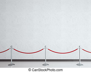 stanchions and white wall in gallery