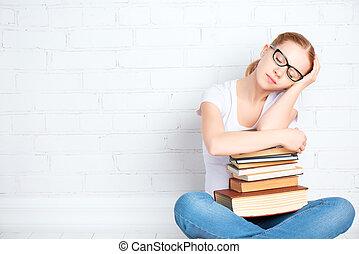 stanco, abbracciare, libri, addormentato, studente, ragazza