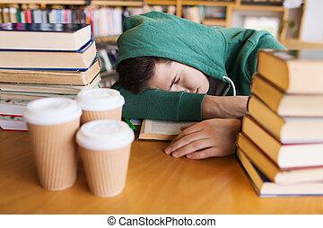 stanco, biblioteca, libri, studente, o, uomo