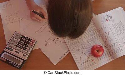 stanco, di, studiare, economia, tavola