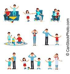 stanco, genitori, e, loro, bambini, set, esaurito, genitori, gioco, lettura, e, curare, loro, bambini, vettore, illustrazioni, su, uno, sfondo bianco