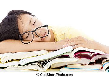 stanco, in pausa, libri, studente, ragazza, occhiali