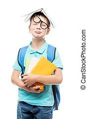 stanco, libri, studio, fondo, ritratto, bianco, scolaro