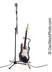 stand, écharpe, microphone