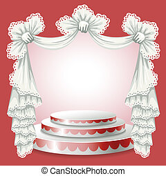 Stand and lace curtain