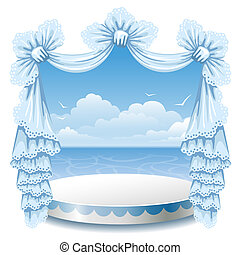 Stand and lace curtain - Abstract background with theater...