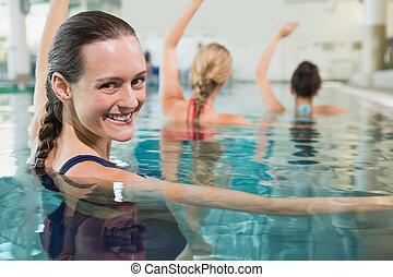 stand, blauwgroen, aerobics, vrouwlijk, fitness