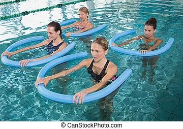 stand, blauwgroen, w, aerobics, fitness