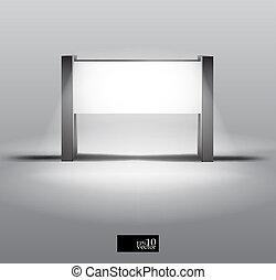 stand, boîte, vide, lumière