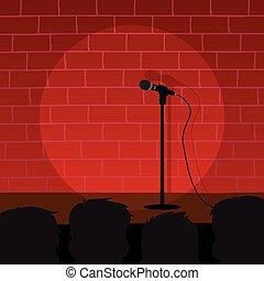 stand, comédie, haut
