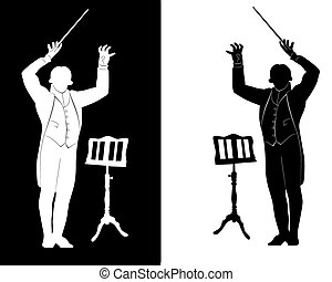 stand, conducteur, musique, silhouette