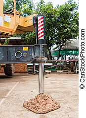 Stand crane use for prevent operate the crane collapsed due to a