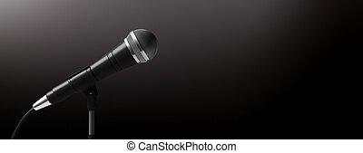 stand, fond, copie, isolé, noir, space., microphone, illustration, bannière, 3d