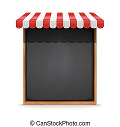 Black chalkboard frame with red awning