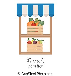 Stand for selling fruit and vegetab - Vector illustration of...