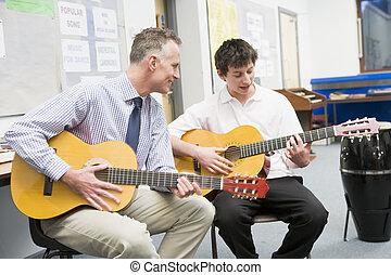 stand, gitaar, leraar, muziek, spelend, schooljongen