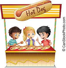 stand, gosses, trois, hot-dog