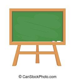 Stand green school blackboard with wooden frame like education symbol for design on white, stock vector illustration