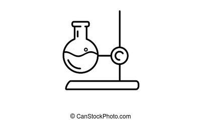 stand, icône, laboratoire, flacon, canal alpha, ligne