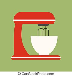Stand Mixer Icon on the green background. Vector...