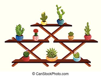 Stand of decorative cactuses in pots with spines and blooming flowers. Vector set illustration in flat cartoon style.