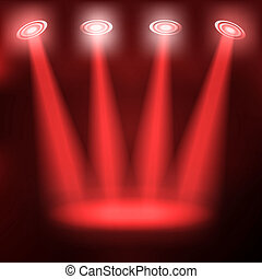 Stand on red stage. vector blue spotlights. 10eps