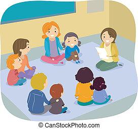 stand, ouders, kinderen, activiteit