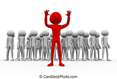 Stand out from crowd - 3d man leader in red color, standing...