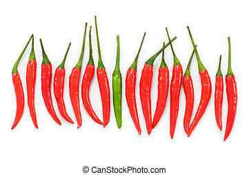 Stand out from crowd concept with peppers
