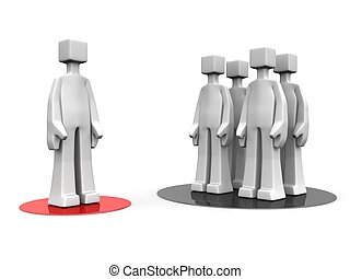 Man stand out from the crowd different opinion concept 3d illustration