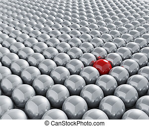 Stand out from the crowd - 3D conceptual image depicting ...