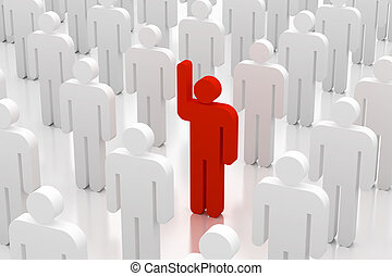 stand out from the crowd - 3d people volunteer with arm up